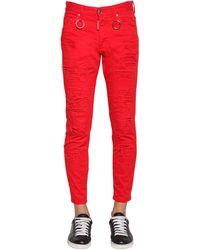 DSquared² Jeans Skinny Dan In Denim Di Cotone 15cm - Rosso