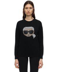 Karl Lagerfeld Pixel Karl コットン&モダールスウェットシャツ - ブラック