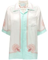 CASABLANCA Les Coquillages シルクサテンシャツ - ホワイト