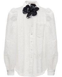 Elie Saab Cotton Blend Embroidered Shirt - White