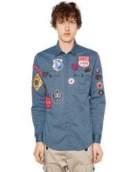 DSquared² Militaryhemd Aus Stretch-baumwolltwill - Blau