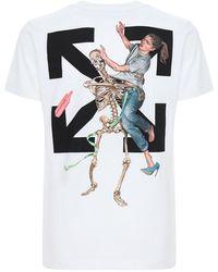 Off-White c/o Virgil Abloh T-shirt Aus Baumwolle Mit Pascal-skelett-motiv - Weiß