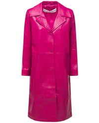 Nour Hammour Bombshell Knee-length Leather Coat - Пурпурный