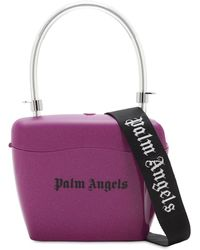 Palm Angels Logo Printed Glitter Top Handle Bag - Purple