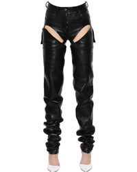 Y. Project Cutout Transformer Leather Pants - ブラック