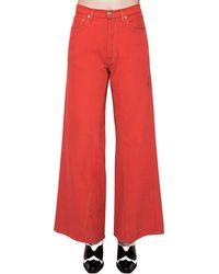 Ganni Jeans Anchos De Denim De Algodón - Rojo