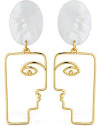 Nina Kastens Jewelry Mop Face Earrings W/ Mother Of Pearls - Metallic