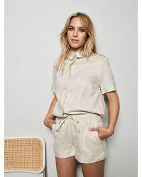 Underprotection Caroline Organic Linen Pajama Shirt - White