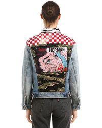 Herman Market Giacca In Denim Patchwork - Blu
