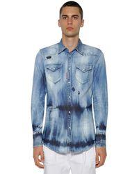 DSquared² Western ブリーチコットンデニムシャツ - ブルー