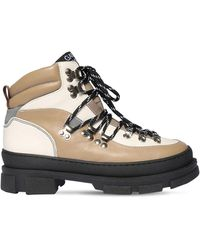 Ganni 45mm Sporty Leather Hiking Boots - Natural