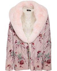 Blumarine Mantel Aus Wollfilz Mit Kunstpelzkragen - Pink