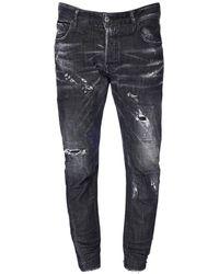 DSquared² 17cm Jeans Aus Baumwolldenim Im Tidy Biker Fit - Schwarz