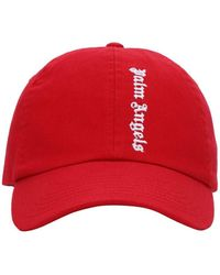 Palm Angels Red Embroidered Logo Cap