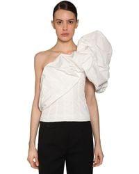 Givenchy One Shoulder Taffeta Top - White