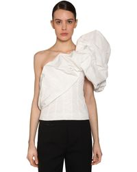 Givenchy One Shoulder Taffeta Top - White