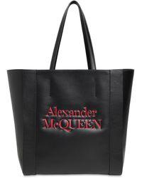 Alexander McQueen Tote Aus Leder Mit Signatur-logo - Schwarz