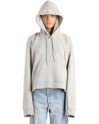Vetements - Logo Printed Hooded Cotton Sweatshirt - Lyst