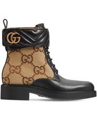 Gucci Marmont キャンバス&レザーアンクルブーツ 40mm - ブラック