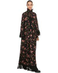 Antonio Marras - Rose Printed Long Dress W/ Ruffles - Lyst