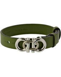 Ferragamo 17cm Geflochtenes Doppelgancio-lederarmband - Grün