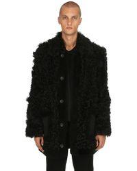 Diesel Black Gold Furry Shearling Coat - Black