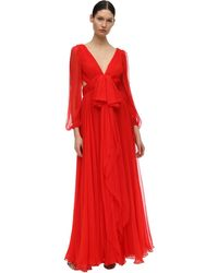 Alexander McQueen - Платье Из Шелкового Крепа - Lyst