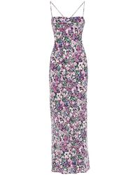 Bec & Bridge Floral Print Silk Dress - Purple