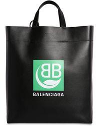 "Balenciaga Tote Bag En Cuir Imprimé Logo ""Market"" - Noir"