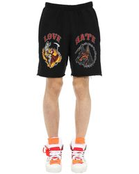 Warren Lotas Love Hate Cotton Sweat Shorts - Black