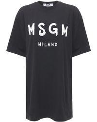 MSGM - Платье-футболка Из Хлопка С Принтом Логотипа - Lyst