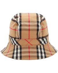 Burberry Cappello In Cotone Check - Multicolore