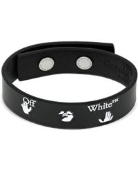 Off-White c/o Virgil Abloh Ow Logo Leather Bracelet - Schwarz