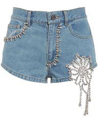 Area Embellished Cutout Denim Shorts - Blue