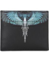 Marcelo Burlon Porte-cartes noir et bleu Wings