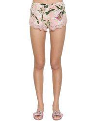 Dolce & Gabbana Shorts Aus Spitze Und Stretch-charmeuse - Pink