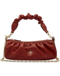 MANU Atelier Ruched Cylinder Chain Soft Leather Bag - Red