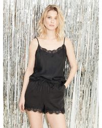 Underprotection Carry Satin & Lace Top - Black