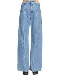 Maison Margiela Paneled Wide Leg Jeans - Blue
