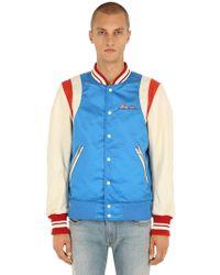 DIESEL - Bomber Jacket W/ Leather Sleeves - Lyst