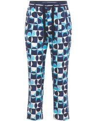 Dolce & Gabbana Geometric コットンポプリンパンツ - ブルー