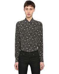 Saint Laurent - Yves Skull Printed Silk Shirt - Lyst
