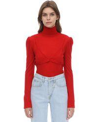 Pushbutton ウール混 ブラ付きセーター - レッド