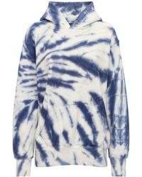Les Tien Cropped Tie Dye Cotton Sweatshirt Hoodie - Blue