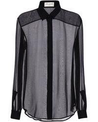 Saint Laurent Рубашка Из Крепа - Черный