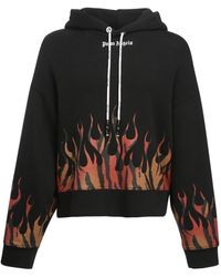 Palm Angels Kapuzenpullover Tiger Flames - Schwarz