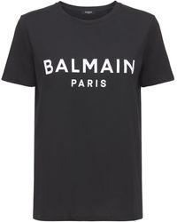 Balmain - Camiseta De Jersey De Algodón Con Logo - Lyst