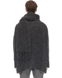Valentino Valentino garavani suéter oversize de alpaca con bufanda - Gris