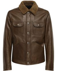 Tom Ford Shiny Leather Jacket W/ Shearling Collar - Brown