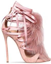 DSquared² 120mm Riri Suede Lace-up Sandals W/ Fur - Pink